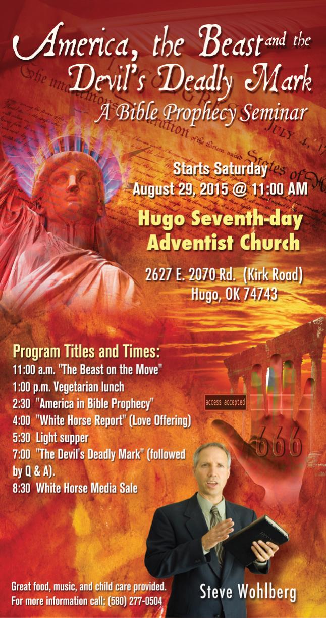 Wohlberg All-Day Prophecy Seminar in Hugo, Ok., August 29 @ Hugo Oklahoma SDA Church