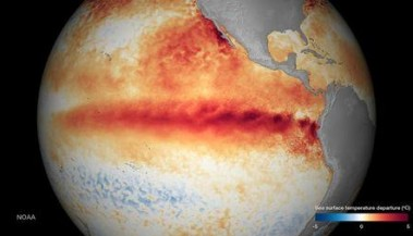 The sea surface temperature departure is seen in an undated NOAA image