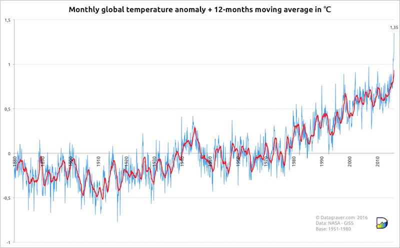 monthly global temperature anomaly