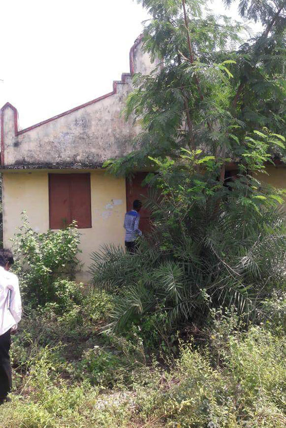 A closed church before renovation by Akhil's youth team.