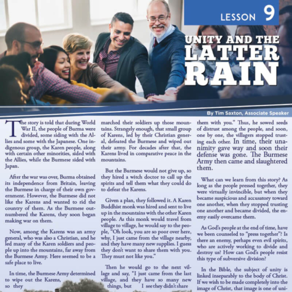 """""""Lesson 9: Unity and the Latter Rain"""" Study Guide"""